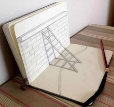 Moleskine Art ladders on brick wall pencil drawing