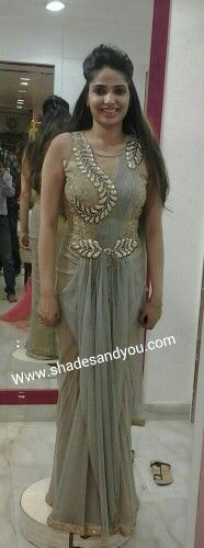 A beautiful bride to be in her #draped #saree #gown at shadesandyou for her trial fittings