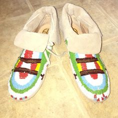 **House of Harlow** Beaded Moccasin No Joke- I purchased these from Miley Cyrus' sister Brandi on a another website. They are gorgeous, stunning, authentic, and very very new. Size 6.5 | no box | Taupe moccasin suede | hand sewn colored Beads | rubber gum bottom for protection | No Wear | No Trades | $160 on ♏️ercari House of Harlow 1960 Shoes