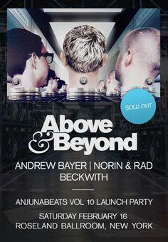 Nightlifepost.com - Anjunabeats Vol. 10 Launch Party Lineup Announcement Includes Above & Beyond, Andrew Bayer, Norin & Rad & Beckwith at celebrity hotspot #Roseland Ballroom on 2/16/13  http://celebhotspots.com/hotspot/?hotspotid=5223&next=1