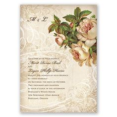 Garden-style wedding invitations with a touch of Parisian flair will leave guests wanting more! These beautiful invitations feature a background of ornate swirls and flourishes as well as bouquets of garden roses. Your wording appears on the front. Your names and wedding date appear on the back. Your wording is printed in your choice of colors and fonts. Invitation includes inner and outer envelopes.