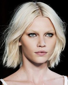 Bleach blonde hair looks great with this sharpe bob sorting just below chin. No fringe gives it the invisible cut look it need to look thick and is on trend.