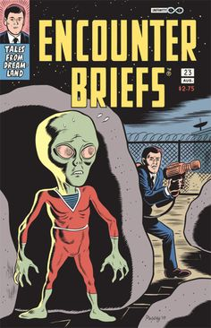 Comic book prop cover illustration by Daniel Clowes used in the recent film Paul. Note the signature.