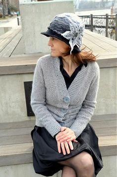 FeltroModa / Plstený melírovaný šedý klobúčik-ORCHIDEA