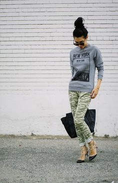 Graphic sweatshirt, camo pants, Valentino heels