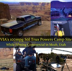 """VIA Motors """"Söl Trux"""" powers camp site while filming a commercial in Moab, Utah. What would you power if you were the owner of a 100mpg extended-range electric solar truck?? #solarcar #solarvehicle #solartruck #viamotors #soltrux #solar #solarpanels #solarcamping #solarpower #solarpoweredvehicle"""