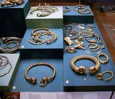 Celtic torque), or neck ring, was an important piece of Celtic jewelry, and was worn before 1200 BC to as late as 600 AD. It was a powerful symbol, perhaps representing the wearer's free-born status, and was often complemented with additional rings worn about the arms and wrists. Torques were made from copper, bronze, silver, and gold. They were worn by both men and women, and are depicted as such in both Classical and Celtic sculptures.