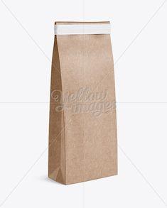 Kraft Paper Bag w/ a Plastic Tin-Tie Mockup - Halfside View