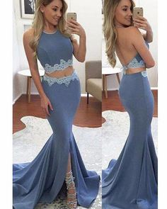 A48-2017 Two Pieces Sexy Prom Dresses, Lace Prom Dresses, Backless Mermaid Prom Dresses