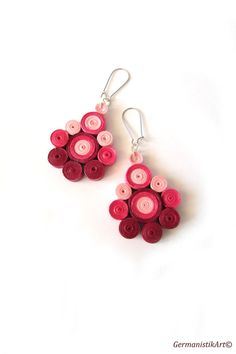 Pink Nuanced Quilled Paper Earrings Dangle by GermanistikArt, #quilling