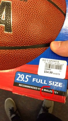 "Pointlessly gendered basketball ""for males."""