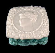 Vintage Fostoria Jenny Lind Handkerchief Hanky Box Aqua and Milk Glass
