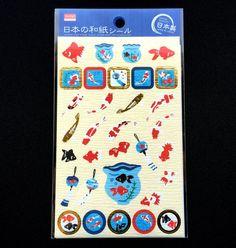 Goldfish Stickers  Japanese Washi Paper Stickers  Chiyogami