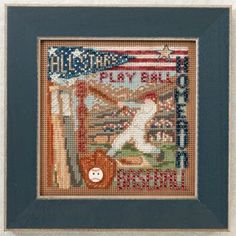 Mill Hill Home Run - Beaded Cross Stitch Kit. Kit Includes: Beads, ceramic button, perforated paper, floss, needles, chart and instructions. Finished size: 5 x