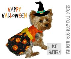 Halloween Dog Dress SEWING PATTERN * 1603 Baby Doll Dog Dress * Dog Harness Dress * Pet Dress * Dog Apparel * Dog Halloween Costume