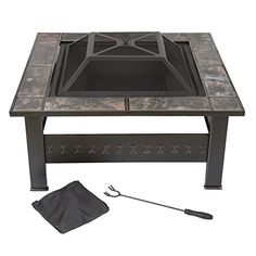 Pure Garden 32 In Steel Square Tile Fire Pit With Cover throughout measurements 1000 X 1000 Pure Garden Fire Pit - Outdoor fire pits are quickly Metal Fire Pit, Wood Burning Fire Pit, Fire Pits, Garden Fire Pit, Fire Pit Backyard, Fire Pit Wayfair, Fire Pit Dimensions, Fire Pit Sets, Propane Fire Pit Table