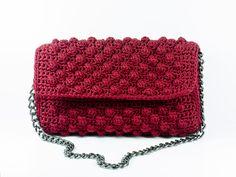 Evening Clutch Bag Eco Friendly Handmade Crochet Bordeaux Clutch Purse