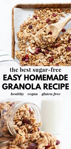 Homemade Sugar Free Granola, Low Sugar Granola, Vegan Granola, Homemade Granola Recipe, Is Granola Gluten Free, Stevia, Low Calorie Granola, Sin Gluten, Vegans