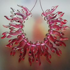 Pink Corals Handmade Lampwork Glass Beads SRA by Mandra on Etsy