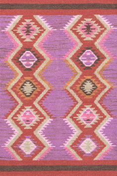 Dash & Albert | Rhapsody Wool Woven Rug | If we had fingers and thumbs, we'd write songs about this gorgeous new wool woven, based on a vintage design, in a perky purple and pink palette.