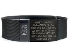 "An <a href=""https://www.roadid.com/Common/Catalog.aspx?C=RoadID"" target=""_blank"">ID bracelet</a> in case of an emergency:"
