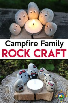 Rock Family Camping Craft - Everyone will love this adorable campfire family. Create this Campfire Family Camping Rock Craft using pebbles and a tea l. - Zacks summer crafts - Camping World Camping Survival, Camping Hacks, Camping Ideas, Camping Supplies, Camping Jokes, Survival Prepping, Camping Lights, Tent Camping, Diy Camping
