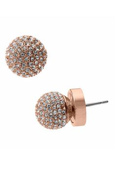 "We love rose gold!  It's feminine and a little bit more subtle than yellow gold.  These 'Spring Sparkle"" pave ball stud earrings by Michael Kors are the perfect accessory to give your ensemble a hint of sparkle."