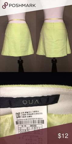 Pastel lime green skirt Worn a couple times, very good condition! Tye wrinkles in the picture will steam right out. 64cm waist, 90cm hips. Linen/polyester/cotton blend. Skirts Mini