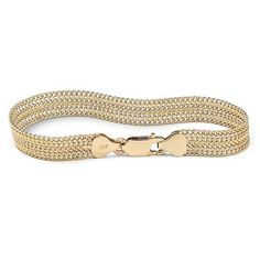 """PalmBeach Jewelry Mesh Link Bracelet in 10k Gold 7 1/4\"""" ($300) ❤ liked on Polyvore featuring jewelry, bracelets, gold mesh bracelet, yellow gold bracelet, bracelet bangle, bracelets & bangles and womens jewellery"""