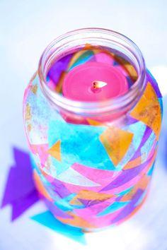 Tissue paper lantern jars