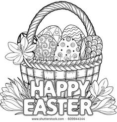 Black and White Doodle Easter Eggs in the basket. Coloring book for adults for relax and meditation. drawings for kids colouring pages Happy Easter Black White Doodle Easter Stock Vector (Royalty Free) 609944156 Easter Coloring Pages Printable, Easter Bunny Colouring, Easter Egg Coloring Pages, Adult Coloring Pages, Coloring Books, Easter Coloring Pictures, Kids Colouring, Spring Coloring Pages, Easter Art