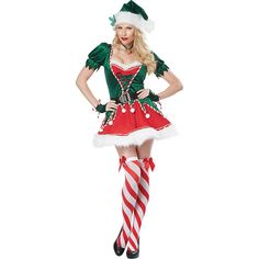 Adult Santa's Helper Sexy Elf Sexy Costume (90 CAD) ❤ liked on Polyvore featuring costumes, halloween costumes, multicolor, white christmas costumes, sexy costumes, adult christmas costumes, elf costume and sexy halloween costumes