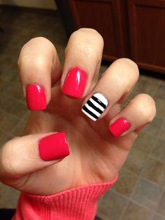 Pink nails #stripes #blackandwhite #spring #katespade #summer #nails