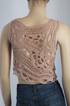 Cotton Beige Freeform Crochet Tank Top Summer Women by levintovich