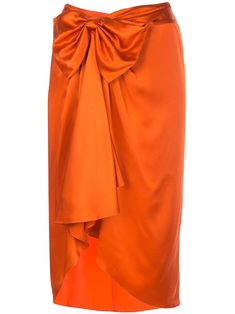 Blood orange silk Emma midi skirt from Cinq á Sept featuring a high rise, a bow on the front, a fitted silhouette, draped details, a concealed rear zip fastening and a knee length. Silk Wrap, How To Feel Beautiful, Mother Of The Bride, African Fashion, Midi Skirt, Women Wear, Feminine, Couture, Skirts