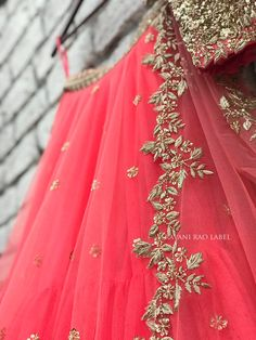 Email us on sravaniraolabel@gmail.com or text / whatsapp us on +91-8374122170 for pricing and other information. Half Saree Designs, Sari Blouse Designs, Fancy Blouse Designs, Lehenga Designs, Dulhan Dress, Choli Dress, Embroidery Suits Design, Embroidery Fashion, Bridal Outfits