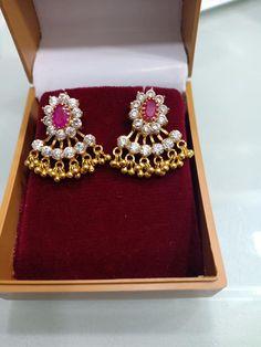 Sri Anjaneya jewellery. <br> Contact : 09963661636. Gold Jhumka Earrings, Jewelry Design Earrings, Gold Earrings Designs, Gold Jewellery Design, Bead Jewellery, Gold Jewelry, Beaded Jewelry, Gold Bangles, Gold Necklace