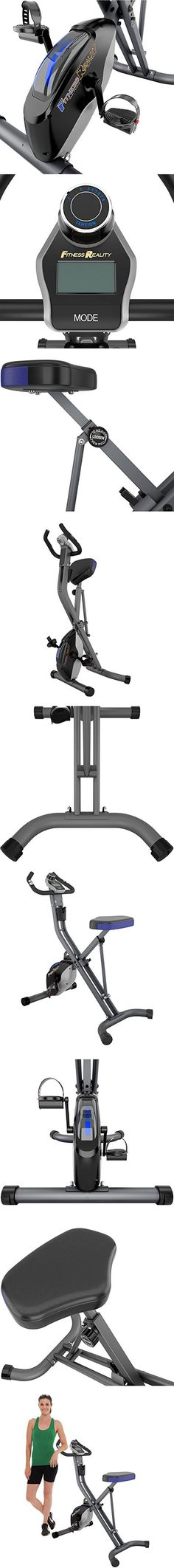 Foldable 400-lb Weight Capacity Upright Stationary Exercise Bike Cycling Heart Pulse Sensors Magnetic Tension Control Home Gym Cardio Training Fitness Workout Equipment Machine Leg Muscle Weight Loss