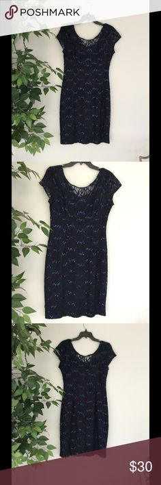 Sequence and Blue Lace Scarlett Dress Beauty navy blue and sequence lace Scarlett dress worn once! Size 10 Dresses