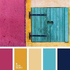 amarillo, amarillo soleado, azul oscuro y celeste, azul turquí, celeste y amarillo, color fucsia, colores celeste y fucsia, combinación contrastante de colores, elección del color, rosado vivo, selección de colores para hacer una reforma, selección de colores para una cocina.