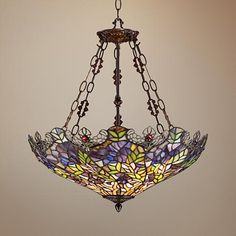 This is THE ONE: Floral Garden 3-Light Tiffany Glass Bowl Pendant