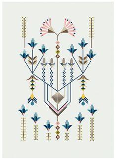 Flower Series, illustration by Carolina Melis. Art And Illustration, Pattern Illustration, Art Nouveau, Art Deco, Pattern Art, Pattern Design, Pattern Drawing, Textures Patterns, Print Patterns