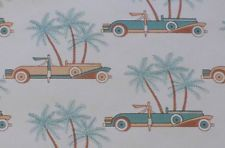 Vintage Wallpaper~Art Deco~Palm Trees Lady w/car~Projects~Scrapbooking~More