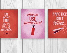 Wall decor. These are too funny. Ideas for the salon bathroom.