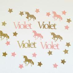 Personalized Glitter Unicorn Confetti adding a little magic and sparkle to your dessert table!