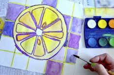 Citrus fruits in complementary colors Color Wheel Lesson, Color Wheel Projects, Art Projects, Teaching Colors, Teaching Art, Third Grade Art, Grade 2, Second Grade, Fruit Art Kids