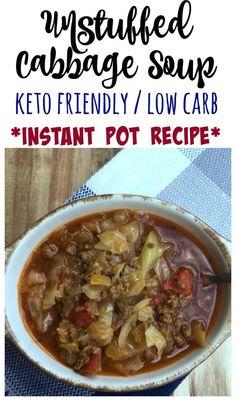 Unstuffed Cabbage Soup Keto friendly low carb Instant Pot Recipe / kept soup recipe / low carb soup recipe / unstuffed cabbage soup veto recipe / unstuffed cabbage soup low carb recipe / ground beef veto recipe / Keto Instant Pot Recipe / Low Carb Instant Pot Recipe #keto #lowcarb #lchf #ketogenic