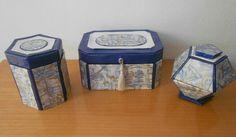 Conjunto de cajas de cartón y papel de regalo.
