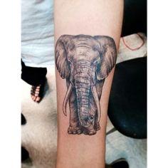 Elephant tattoo done by Asa at Shamrock Social Club in Hollywood, CA