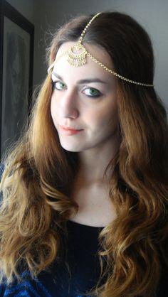 CHAIN HEADPIECE Head Chain Vintage Head chain headdress by Ninnos, $30.00